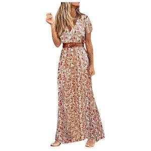 Women Dresses Summer 2021 Short Sleeve Floral Long Dress Boho Party Evening Dress сарафаны женские Платье Летнее Женское2021