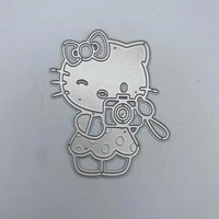 metal cutting dies stencils cat holding a camera for diy scrapbooking album paper card embossing