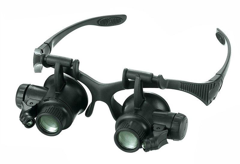 ساعة سوداء المكبر عالية التكبير عقال نظارات مكبرة نظارات 2 LED مضيئة المكبر ساعة نظارات إصلاح