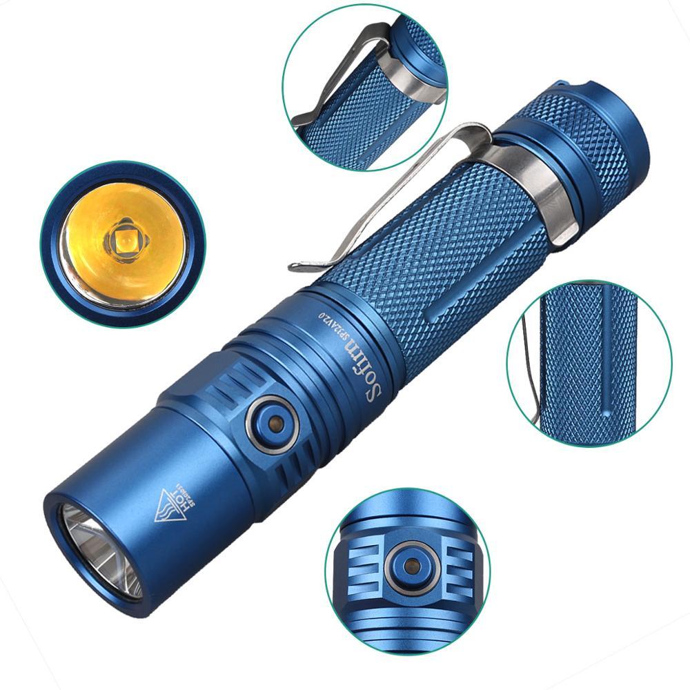 مصباح يدوي ليد SP32A V2.0 قابل للشحن, مصباح يدوي جديد باللون الأزرق والبني من كري XPL2 مصباح يدوي تكتيكي 18650 قابل لإعادة الشحن 1300lm فانوس