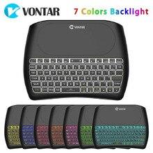 VONTAR rétro-éclairage D8 Pro Plus i8 anglais russe 2.4GHz sans fil Mini clavier Air souris pavé tactile contrôleur pour Android TV BOX