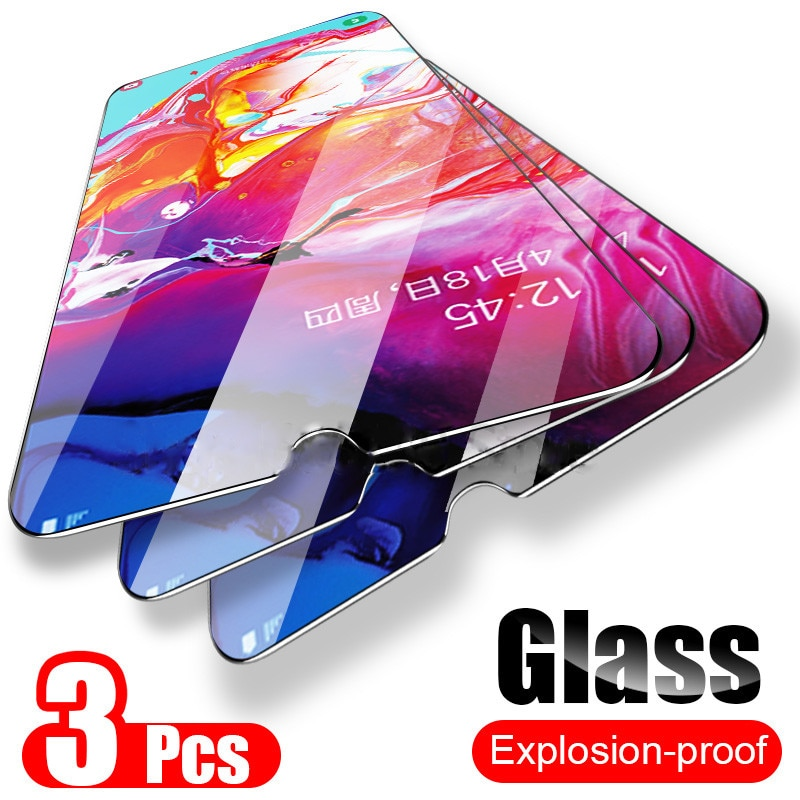 3 uds de vidrio templado para samsung a10 a20 a30 a40 a50 a70 protección Glas Protector de pantalla Tremp en galaxy a 10 20 30 40 50