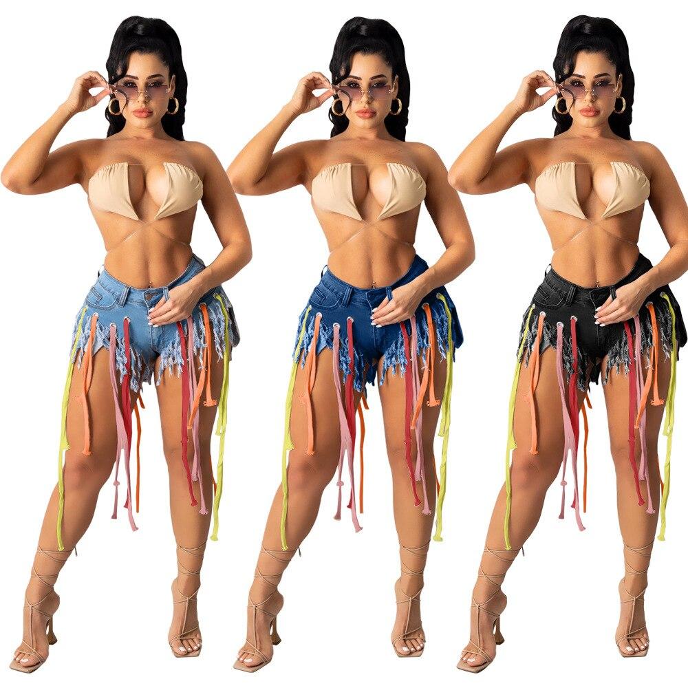 Tassel Line Up Denim Jean Shorts High Wiast Club Summer Casual Cotton Strench Women Short Pants Plus