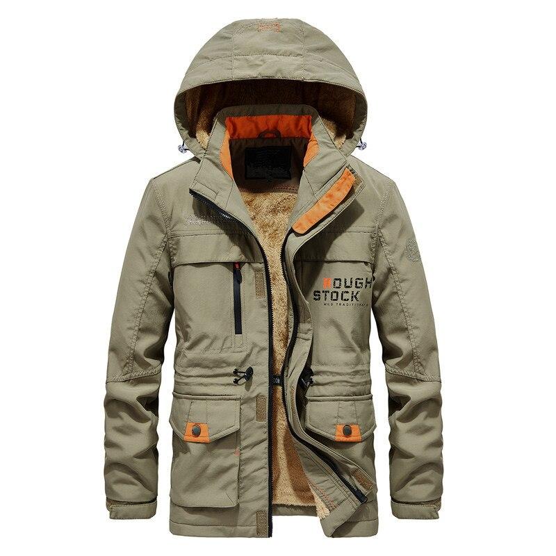 Осень-зима 2021 Мужская плюшевая хлопковая одежда средней и длинной хлопковой одежды с капюшоном модная мужская повседневная утепленная оде...
