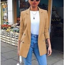 Laamei Casual Long Sleeve Solid Color Turn-down Collar Coat Lady Business Jacket Suit Coat Slim Top Women Blazers Female 2020