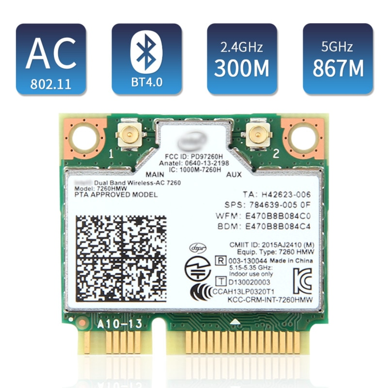 1200 Мбит/с двухдиапазонный Intel7260 7260AC 7260HMW 2,4G/5 ГГц Wlan 802.11ac WiFi Bluetooth 4,0 Mini PCIe Wi-Fi беспроводная сеть PCIe карта