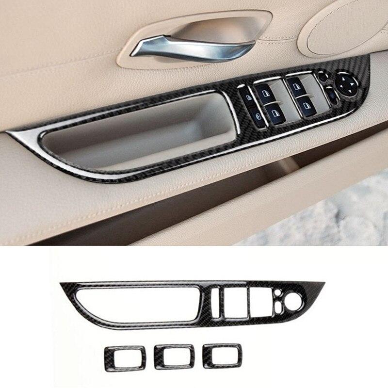 Carbon Fiber Door Armrest Window Glass Buttons Decorative Frame Trim Stickers For BMW 5 Series E60 2008-10 Interior Accessories