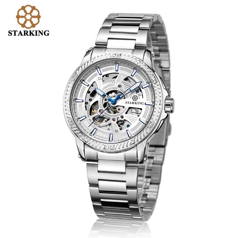 STARKING Men's Clock Relogio Masculino Luxury Brand Business Watches Skeleton Mechanical Watches Men Wristwatch Watch Laikrodis