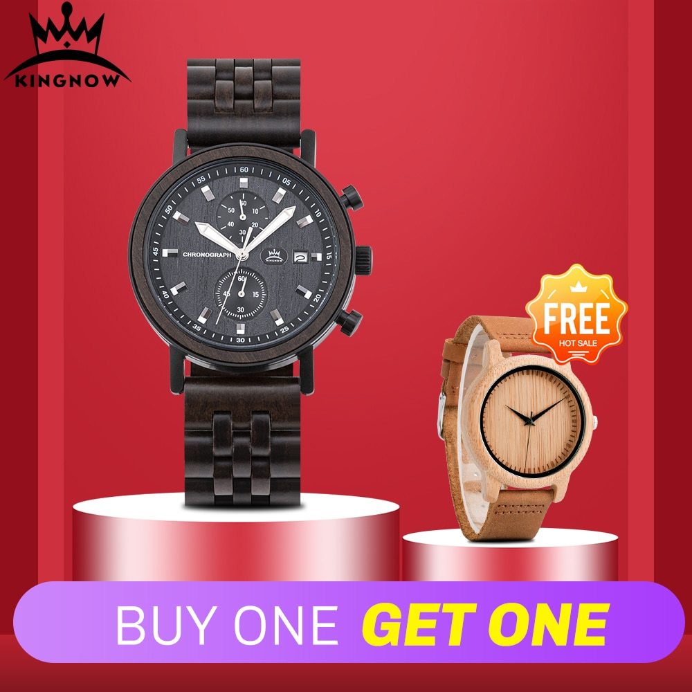 KINGNOW Men's Watches Quartz Wristwatch For Man Women's Watch 2020 Luxury Wood Timepieces Men Wrist