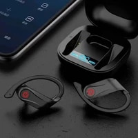 tws bluetooth compatible earphones with charging box wireless ear hook headphone bass stereo sports waterproof headsets with mic