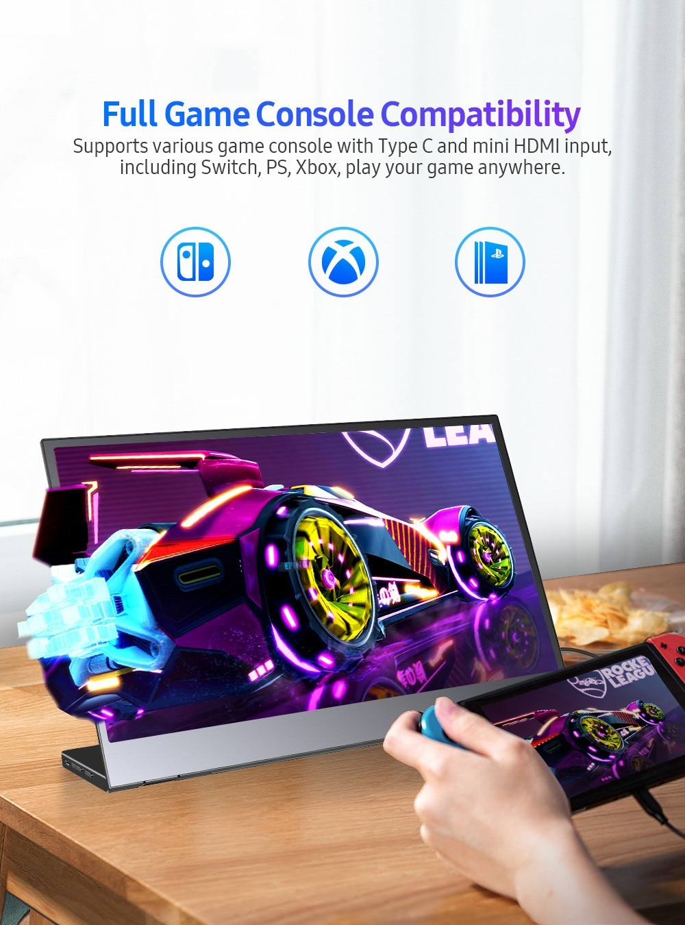 UPERFECT H01 FHD Portable Monitor 1080P Type-C HDMI Gaming Display Dual Speaker IPS LCD Screen For Laptop PC Smartphone Switch