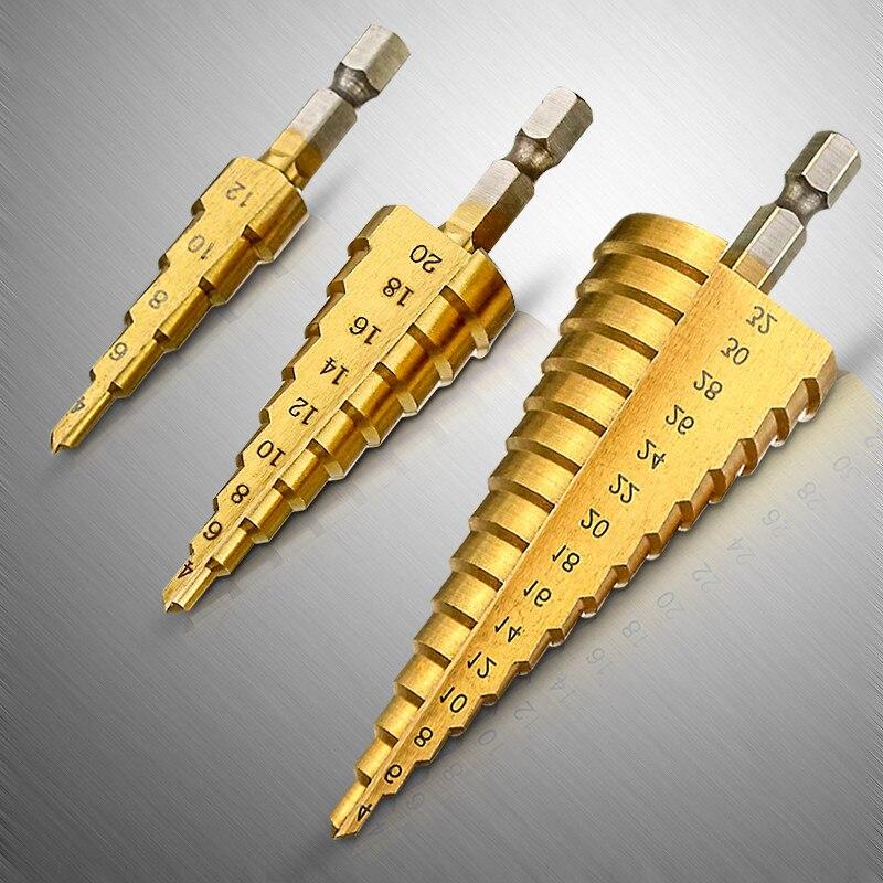 Brocas escalonadas de acero Steel HSS 4-12/20/32mm, flauta espiral métrica, juego de brocas para cortar agujeros recubiertos de titanio con cono 4241