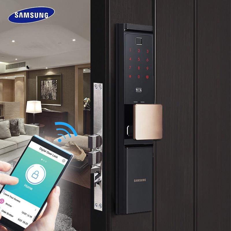 SAMSUNG отпечатков пальцев цифровой Wifi дверной замок много Keyless SHP-DR708/SHP-DR717 английский Verion Eurp Moritse