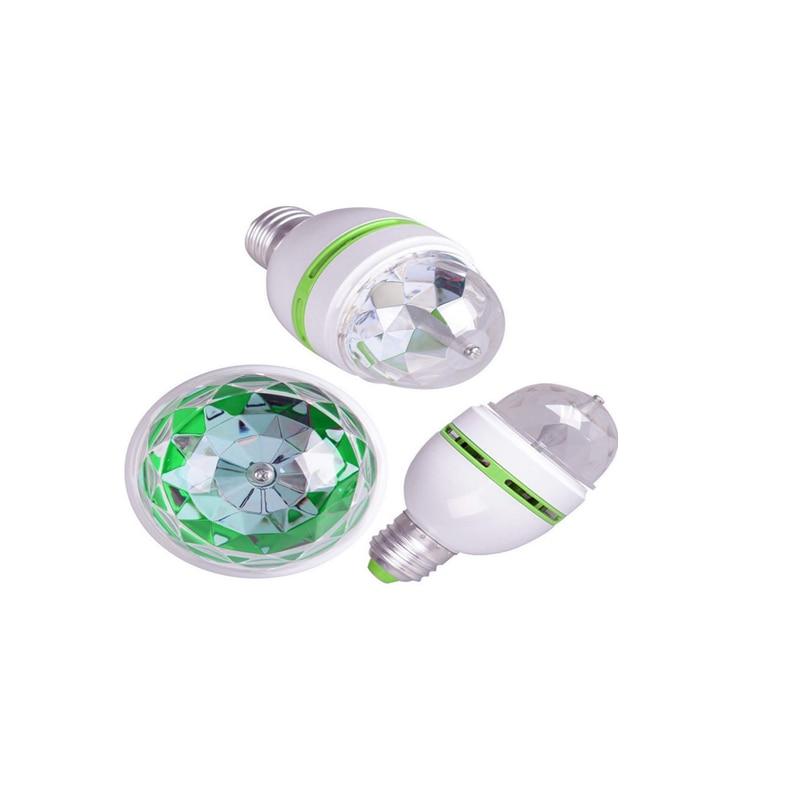 Полный цветной 3 Вт RGB светодиод лампы E27 Lampada Led лампа AC 85-265 В автоматический вращающийся сцена свет проектор для DJ вечеринка шоу