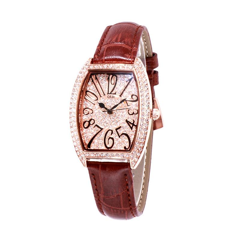 Marca de Luxo Relógio de Pulso para Feminino à Prova Gedi Pulseira Couro Diamante Feminino Relógio Quartzo Senhoras Dwaterproof Água