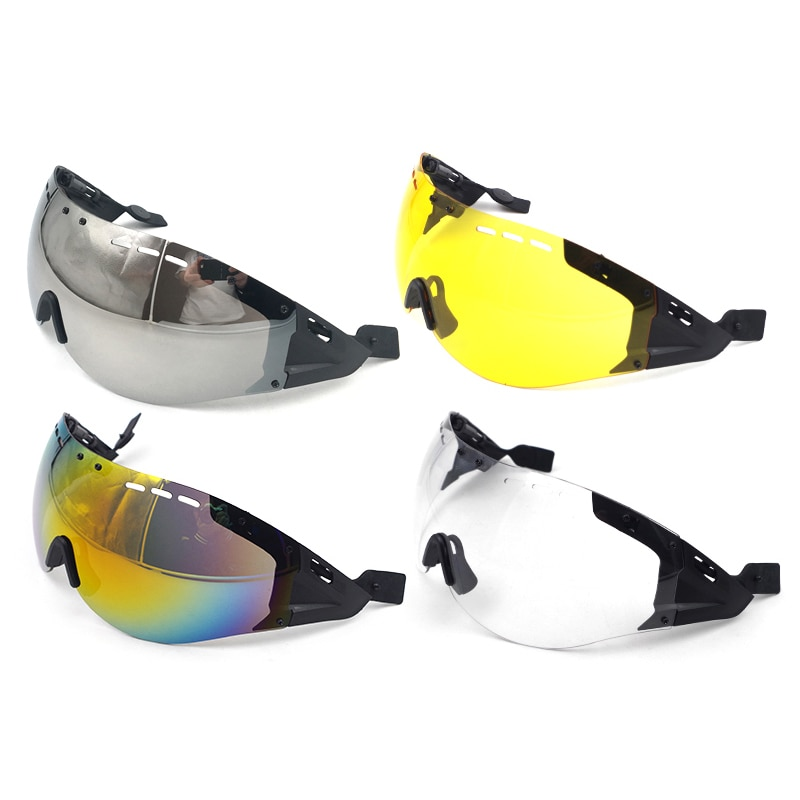 Road Bicycle Helmet Lens Cycling Aero Helmet Sun-visor Goggles Bike Helmet Accessories - Silver Yellow Multicolor Transparent