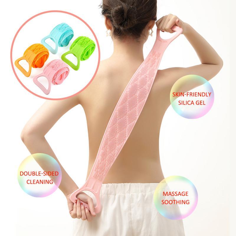 Gel de silicona, cepillo de baño exfoliante, tira de masaje, masaje en la espalda, cinta de baño, cinta de baño, largo, frotar, lado, silicona, frotar, cuerpo, baño revestimiento, limpio