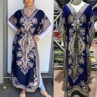 jetlag new muslim malay embroidery dress set with inside top batwing sleeve loose over size long skirt arab long blouse