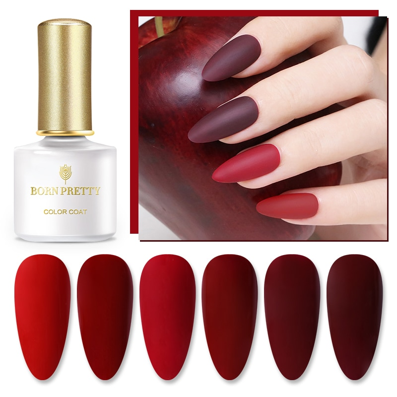 GEBOREN ZIEMLICH Rot Serie Gel Nagellack Nagel Farbe 6ml Tränken Weg UV Gel Lack Long Lasting Nail art design Basis Top Mantel