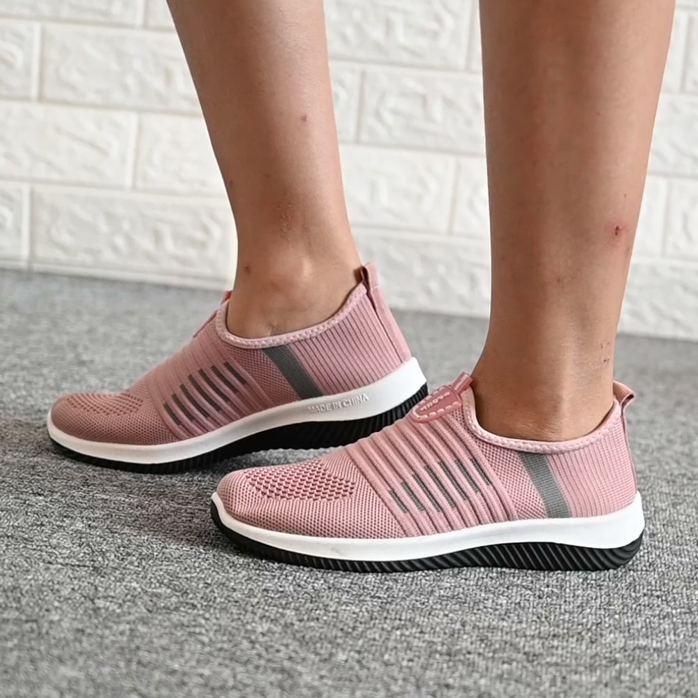 Casual Slip On Vulcanized Shoes Women Flat Shoes Knit Woman Mesh Soft Breathable Women's Footwear Fo