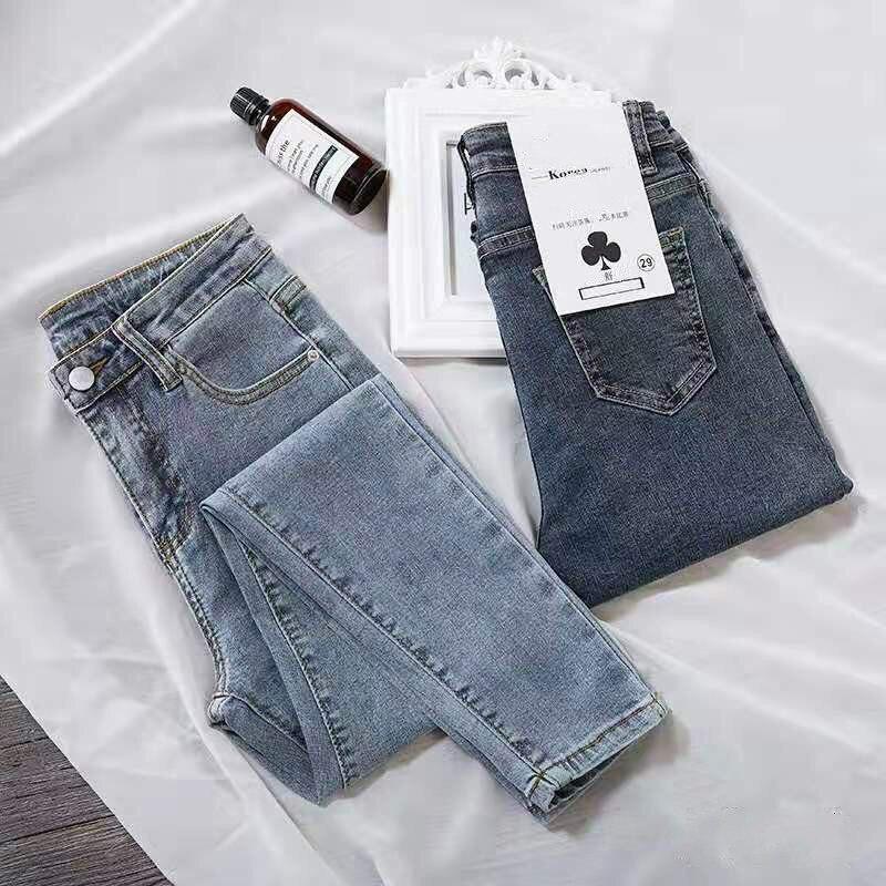 Синие джинсы, женские узкие брюки-карандаш с высокой талией, уличные женские Джинсы бойфренда, обтягивающие модные однотонные повседневные...