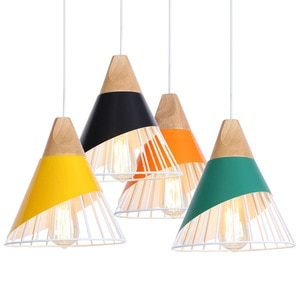 Wood Nordic LED Pendant Lights Colorful Iron Cage Loft Decor Hanging Lamp For Living Room Decoration E27 Bulb Lampara Colgante