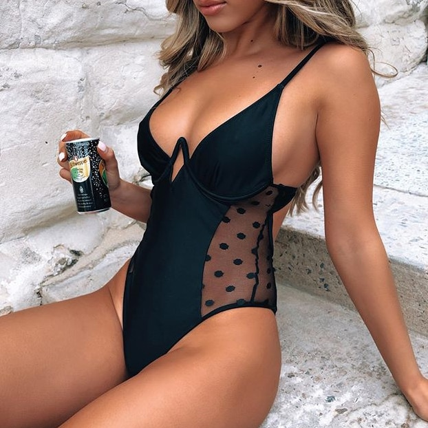 Sexy preto malha polka dot um pedaço maiô push up underwire senhoras 2020 monokini banho feminino nadar maiô trikini