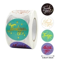 500pcs 3 8cm colorful thank you sticker gold foil stickers party wedding envelope gift sealing decoration label
