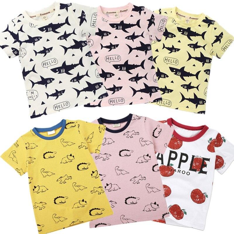 2019, camiseta para niños y niñas, Camisetas básicas para niños, camisetas con estampado de peces, ropa de algodón para niños, camisas de diseño para bebés de 2 a 8 años de tiburón dinosaurio