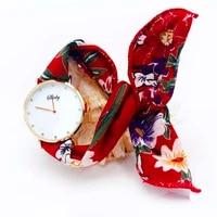shsby brand new style ladies flower cloth wristwatch women dress watch fashion girl casual quartz bracelet watches fabric clock