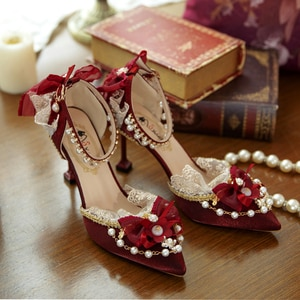 Fashion Luxury Lolita Shoes Red Flower Wedding Pointed Toe Stiletto Bride High Heel Sweet Japanese Women Anime Kawaii Tea Party