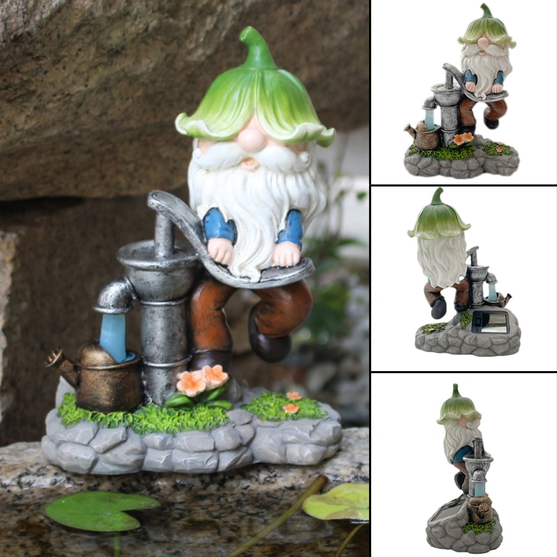 Solar Fairy Gnome Statue Light Dwarf With Bud Hat Pumping Water Funny Small Resin Gnome Outdoor Garden Ornament Lamp Jardim