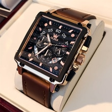 2021 New Casual Watch for Men Top Brand Luxury Square Leather Wrist Watch Man Waterproof Clock Fashi