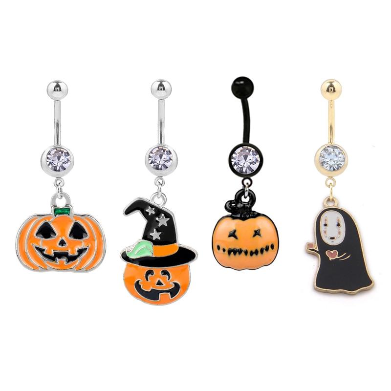1 unid New 316L Acero inoxidable Piercing Navel14g calabaza Demon ombligo anillos joyería para Piercing Halloween Jewelry