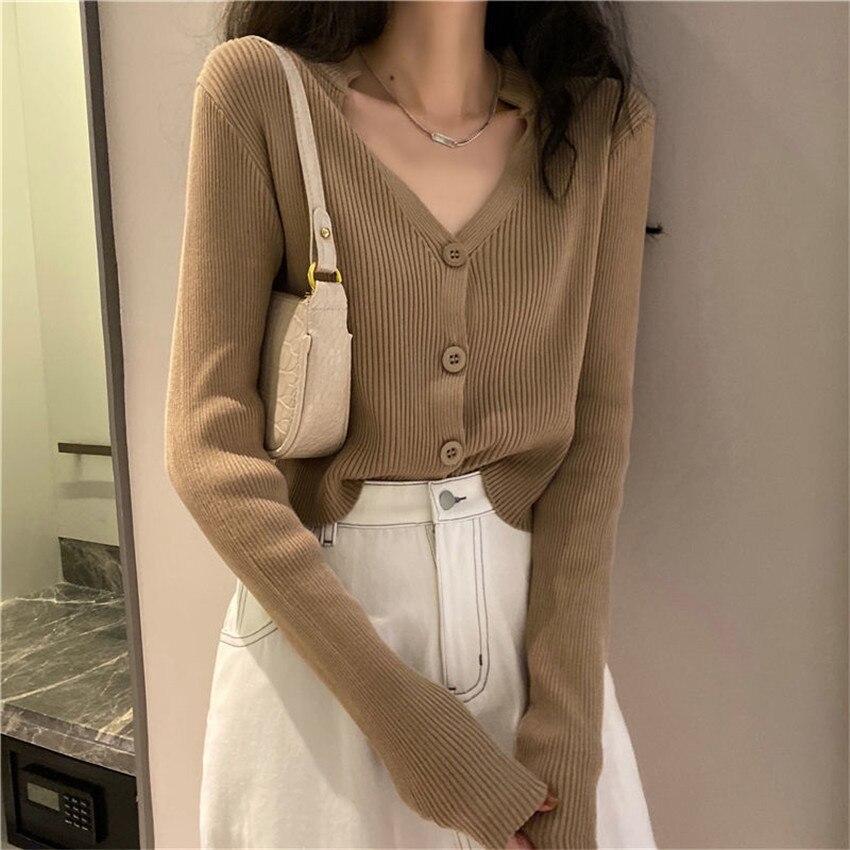 Moda coreana decote em v com nervuras de malha cardigan feminino outono manga longa básico recortado suéteres ropa mujer