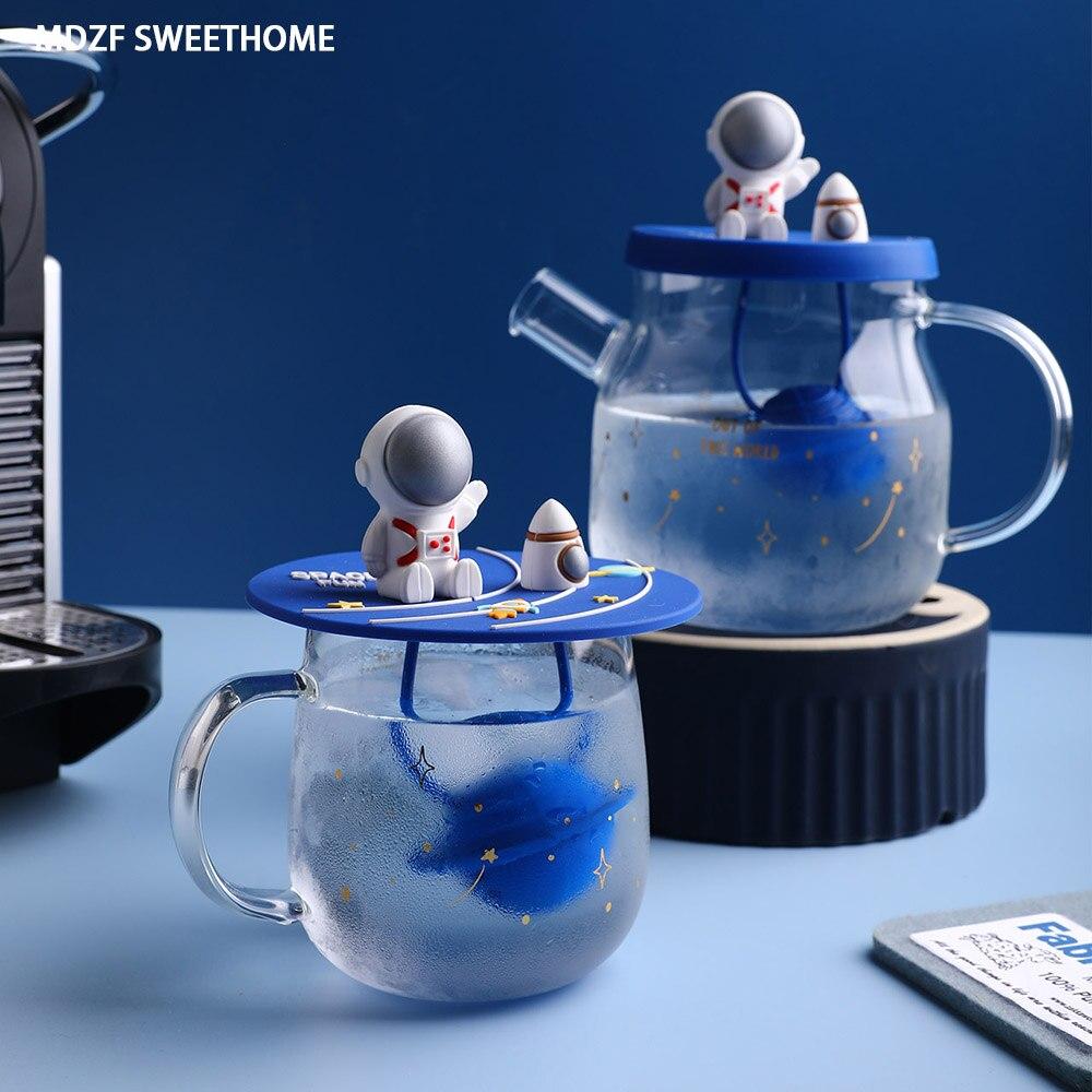 MDZF سويثوم الزجاج الكرتون الفضاء فنجان شاي إبريق الشاي مع فلتر غلاية الماء البارد مقاومة للحرارة الحليب القدح درينكوير هدية عيد ميلاد
