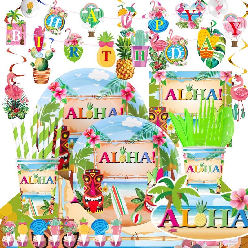 Hawaii ALOHA Happy Birthday Banner Flamingo Hawaiian Tropical Party Decor Holiday Summer Party Luau