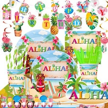 Hawaii ALOHA Happy Birthday Banner Flamingo Hawaiian Tropical Party Decor Holiday Summer Party Luau