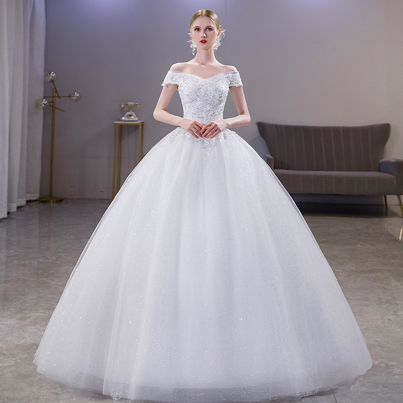 Review One Word Shoulder French Wedding Dress 2021 New Bridal Main Dress Temperament Court Style Simple And Thin