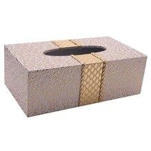 Caja de pañuelos con forma de rectángulo para el hogar, soporte para servilletas de escritorio, color blanco y dorado, para el coche y la sala de estar