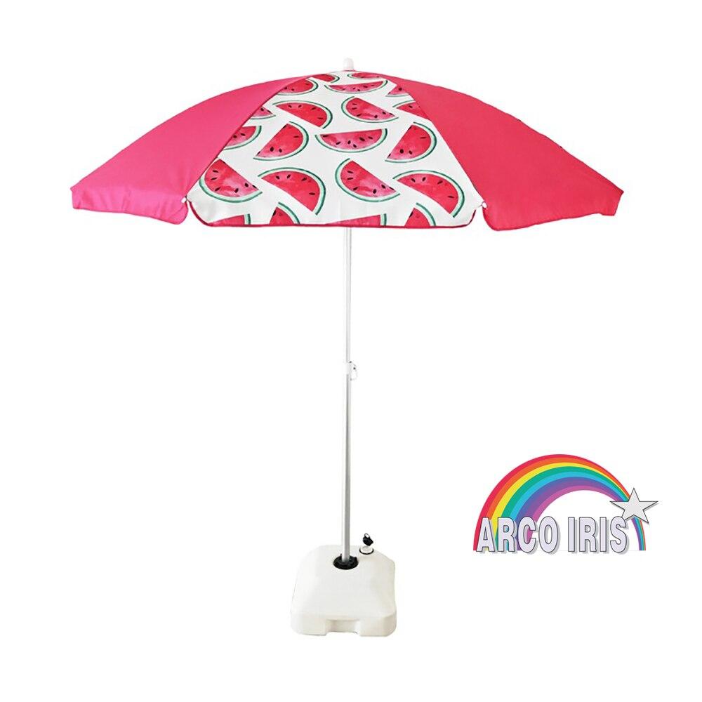 180 cm De Diámetro Arcoiris Sombrilla Playa Parasol terraza de Hierro Protección Solar UPF+50