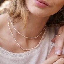 Collier minimaliste de perles pour femmes, taille 2mm/3-4mm, ras du cou simple et délicat, à la mode, nouvelle collection 2020