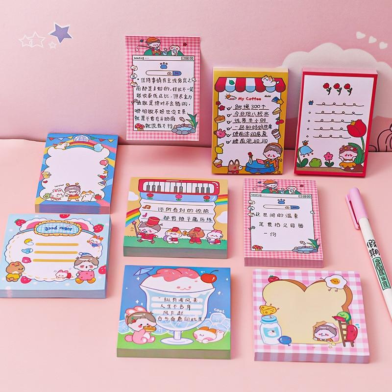 50 листов Kawaii сердечко блокноты для записей блокноты из мультфильма декоративные сообщения блокноты школьные офисные канцелярские принадл...