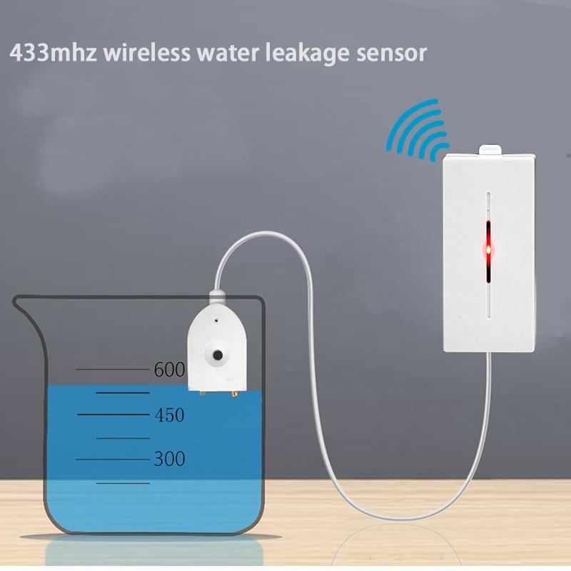 Wireless Water Leakage Sensor Water Leaks Intrusion Detector Alert Water Level Overflow Alarm 433MHz for Home Alarm