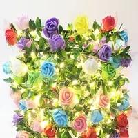 flower garland led string lights christmas holiday lights for valentine wedding decoration fairy lights led rose room light