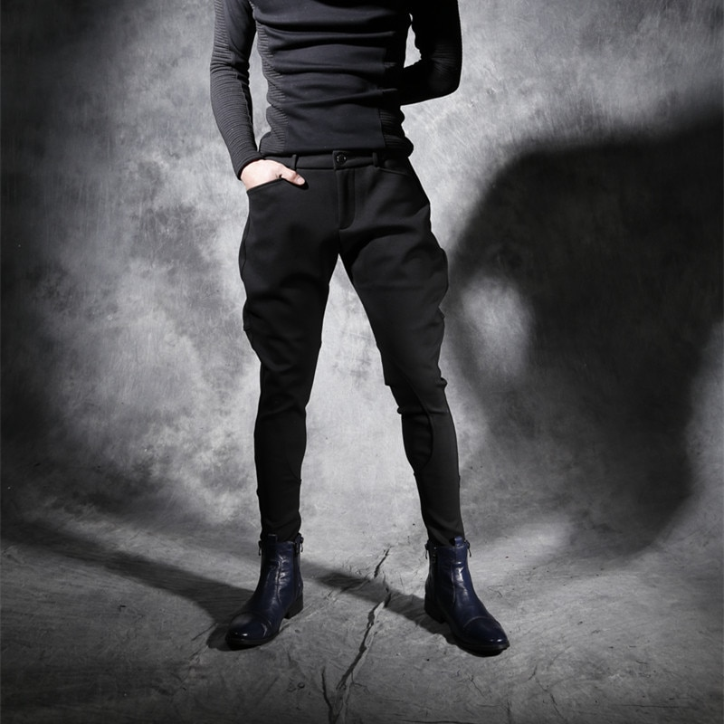 Men's Pants Stretch Slim Feet Black Trousers Breeches Hair Stylist Pants Men Ropa De Hombre 2020 Men Clothes Streetwear