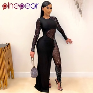 PinePear Sexy Black Bling Sequins Sheer Mesh Patchwork Romper Long Sleeve Skinny Split Dress Elegant Night Club Party Dresses