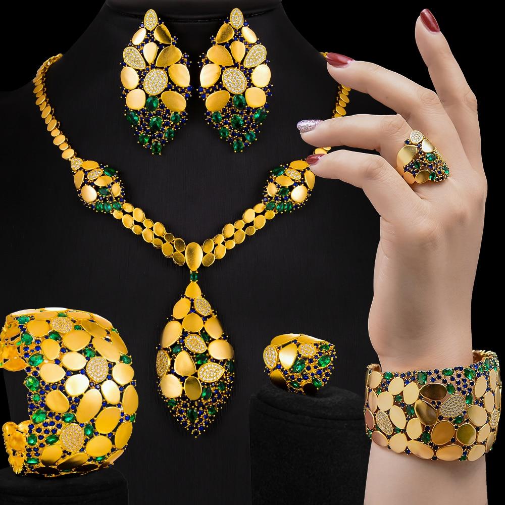 GODKI Famous Brand Bling Sequins Luxury Africa Dubai Jewelry Sets For Women Wedding Party Zircon Wedding Bridal Jewelry Set Gift