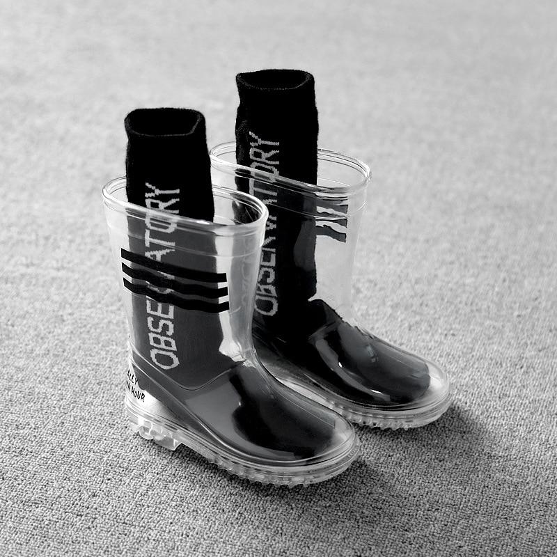 Rainboots for Kids Boy Girl Children Transparent Waterproof Rain Shoes Students Child Baby Toddler R