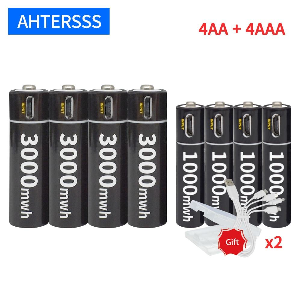 1.5V AA Li-ion Battery And 1.5V AAA  Li-ion Battery 1.5V Lithium Rechargeable Battery 3000mWh/1000mWh USB Charging environmental original mindray li24i002a 5800mah 14 8v rechargeable lithium ion battery